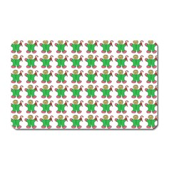 Gingerbread Men Seamless Green Background Magnet (rectangular)