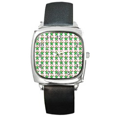 Gingerbread Men Seamless Green Background Square Metal Watch by Alisyart