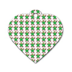 Gingerbread Men Seamless Green Background Dog Tag Heart (one Side) by Alisyart