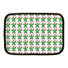 Gingerbread Men Seamless Green Background Netbook Case (medium) by Alisyart