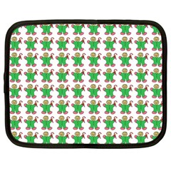 Gingerbread Men Seamless Green Background Netbook Case (large) by Alisyart