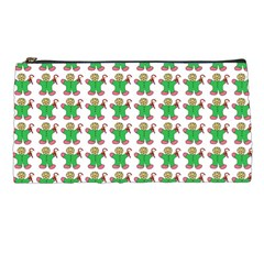 Gingerbread Men Seamless Green Background Pencil Cases by Alisyart