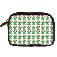 Gingerbread Men Seamless Green Background Digital Camera Leather Case by Alisyart
