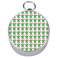 Gingerbread Men Seamless Green Background Silver Compasses by Alisyart