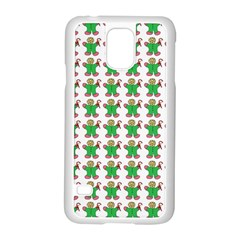Gingerbread Men Seamless Green Background Samsung Galaxy S5 Case (white)