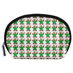 Gingerbread Men Seamless Green Background Accessory Pouch (large)