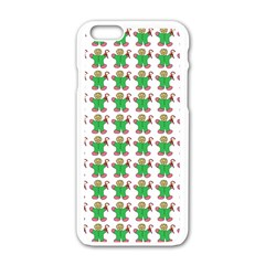 Gingerbread Men Seamless Green Background Apple Iphone 6/6s White Enamel Case by Alisyart