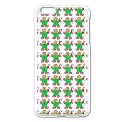 Gingerbread Men Seamless Green Background Apple Iphone 6 Plus/6s Plus Enamel White Case by Alisyart