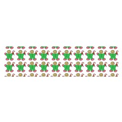 Gingerbread Men Seamless Green Background Satin Scarf (oblong)