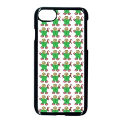 Gingerbread Men Seamless Green Background Apple Iphone 8 Seamless Case (black) by Alisyart