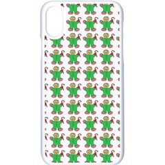 Gingerbread Men Seamless Green Background Apple Iphone X Seamless Case (white) by Alisyart