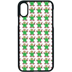 Gingerbread Men Seamless Green Background Apple Iphone X Seamless Case (black) by Alisyart