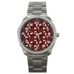Cartoon Mouse Christmas Pattern Sport Metal Watch