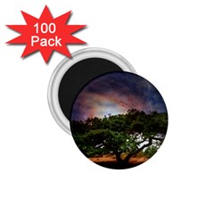 Lone Tree Fantasy Space Sky Moon 1 75  Magnets (100 Pack)