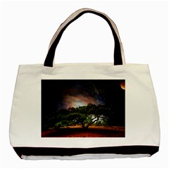 Lone Tree Fantasy Space Sky Moon Basic Tote Bag (two Sides) by Alisyart