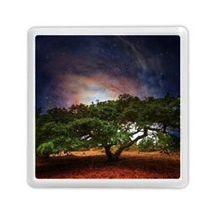 Lone Tree Fantasy Space Sky Moon Memory Card Reader (square) by Alisyart