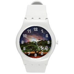Lone Tree Fantasy Space Sky Moon Round Plastic Sport Watch (m) by Alisyart
