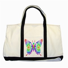 Rainbow Butterfly Two Tone Tote Bag