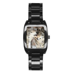 Lovable Wolves Stainless Steel Barrel Watch