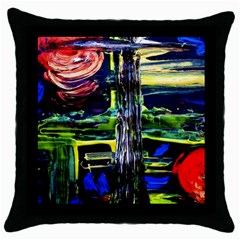 Between Two Moons 1 Throw Pillow Case (black)