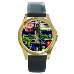 Between Two Moons 1 Round Gold Metal Watch