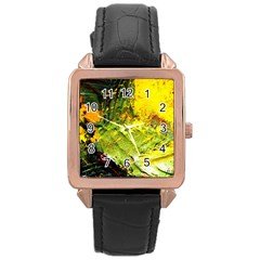 Yellow Chik 5 Rose Gold Leather Watch