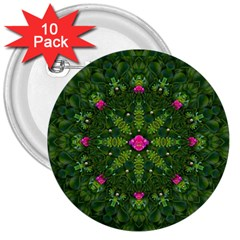 The Most Sacred Lotus Pond  With Bloom    Mandala 3  Buttons (10 Pack)  by pepitasart