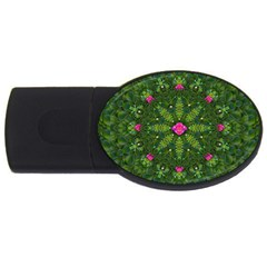 The Most Sacred Lotus Pond  With Bloom    Mandala Usb Flash Drive Oval (2 Gb) by pepitasart