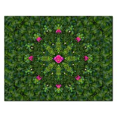 The Most Sacred Lotus Pond  With Bloom    Mandala Rectangular Jigsaw Puzzl by pepitasart