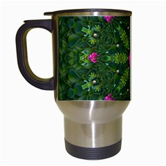 The Most Sacred Lotus Pond  With Bloom    Mandala Travel Mugs (white)