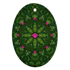 The Most Sacred Lotus Pond  With Bloom    Mandala Oval Ornament (two Sides)