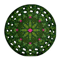 The Most Sacred Lotus Pond  With Bloom    Mandala Round Filigree Ornament (two Sides)