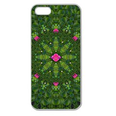 The Most Sacred Lotus Pond  With Bloom    Mandala Apple Seamless Iphone 5 Case (clear) by pepitasart