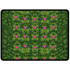 The Most Sacred Lotus Pond With Fantasy Bloom Double Sided Fleece Blanket (large)  by pepitasart
