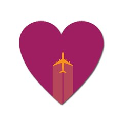 Airplane Jet Yellow Flying Wings Heart Magnet by Nexatart