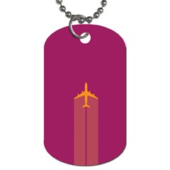 Airplane Jet Yellow Flying Wings Dog Tag (two Sides)