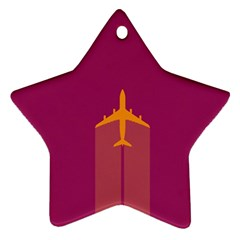 Airplane Jet Yellow Flying Wings Star Ornament (two Sides)