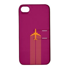 Airplane Jet Yellow Flying Wings Apple Iphone 4/4s Hardshell Case With Stand