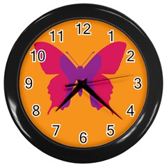 Butterfly Wings Insect Nature Wall Clock (black)