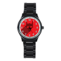 Skull Alien Species Red Character Stainless Steel Round Watch