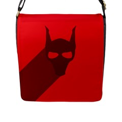 Skull Alien Species Red Character Flap Closure Messenger Bag (l)