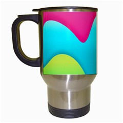Lines Curves Colors Geometric Lines Travel Mugs (white) by Nexatart