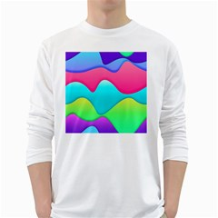 Lines Curves Colors Geometric Lines Long Sleeve T Shirt