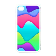 Lines Curves Colors Geometric Lines Apple Iphone 4 Case (white)