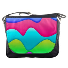 Lines Curves Colors Geometric Lines Messenger Bag by Nexatart