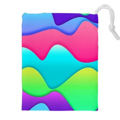 Lines Curves Colors Geometric Lines Drawstring Pouch (xxl)