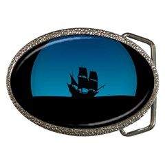 Ship Night Sailing Water Sea Sky Belt Buckles by Nexatart