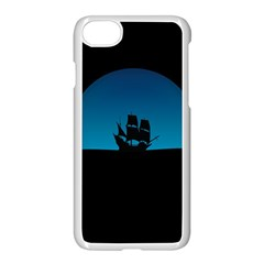 Ship Night Sailing Water Sea Sky Apple Iphone 8 Seamless Case (white)