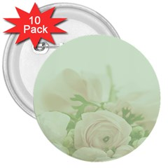 Pastel Roses Background Romantic 3  Buttons (10 Pack)