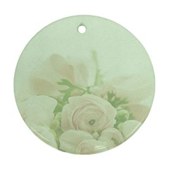 Pastel Roses Background Romantic Round Ornament (two Sides)